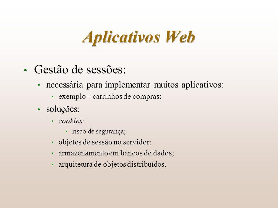 Aplicativos Web Gestão de sessões: