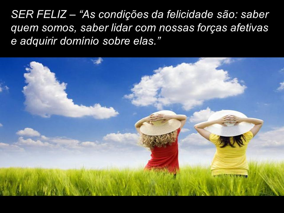 SER FELIZ – As condições da felicidade são: saber quem somos, saber lidar com nossas forças afetivas e adquirir domínio sobre elas.