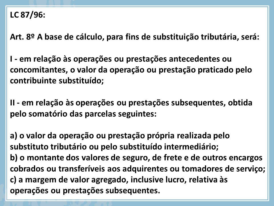 LC 87/96: Art. 8º A base de cálculo, para fins de substituição tributária, será: