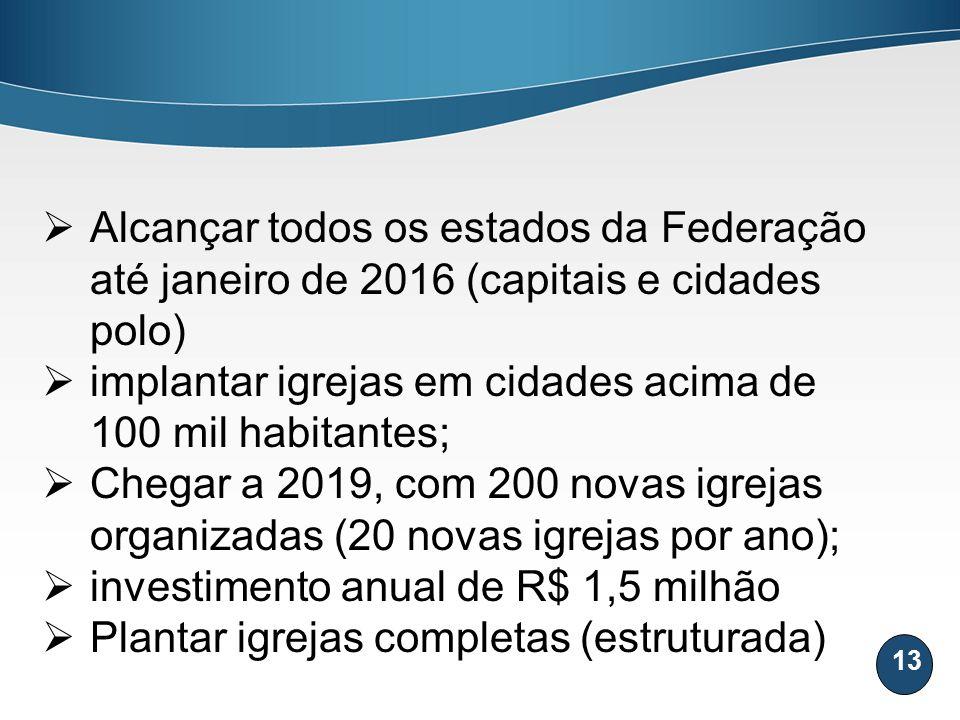 Alcançar todos os estados da Federação até janeiro de 2016 (capitais e cidades polo)