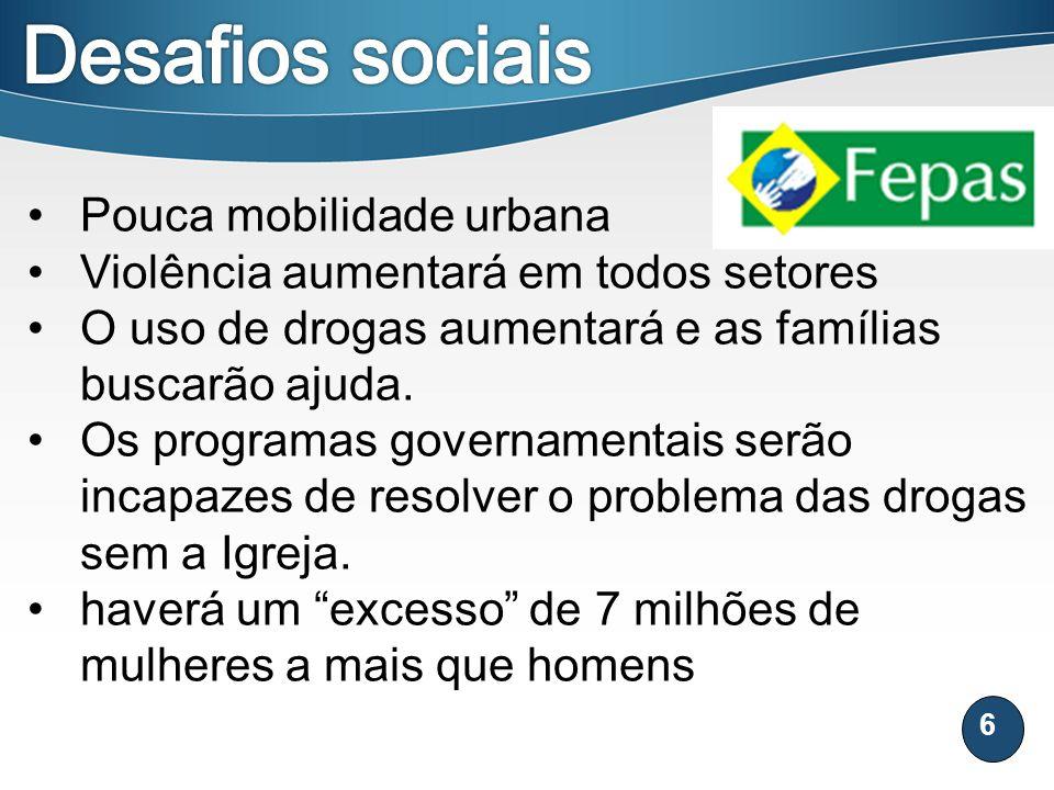 Desafios sociais Pouca mobilidade urbana