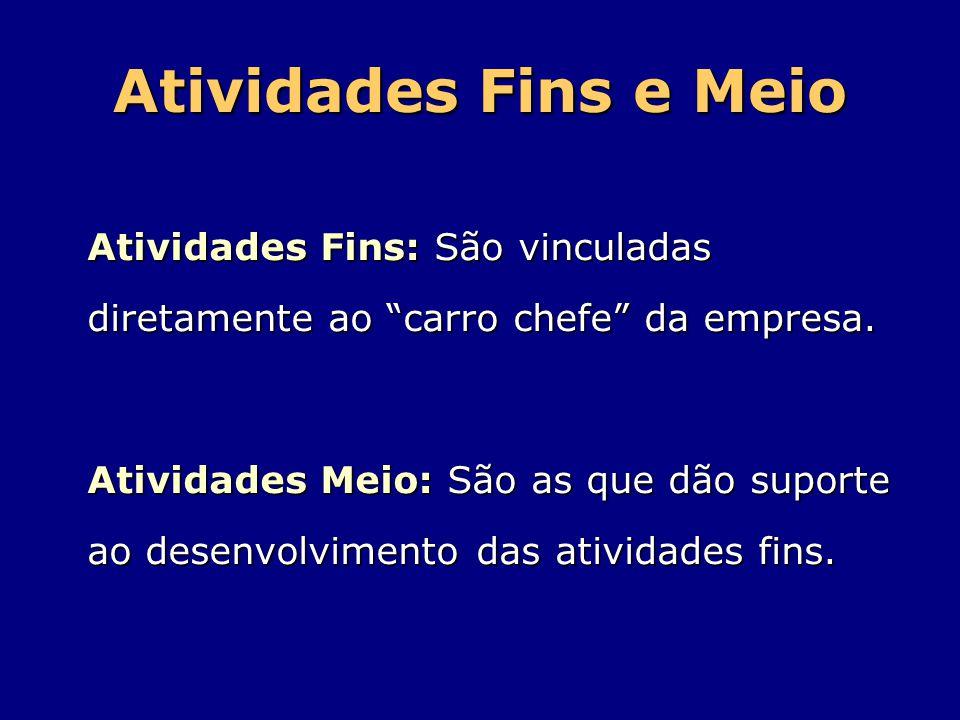 Atividades Fins e Meio Atividades Fins: São vinculadas diretamente ao carro chefe da empresa.