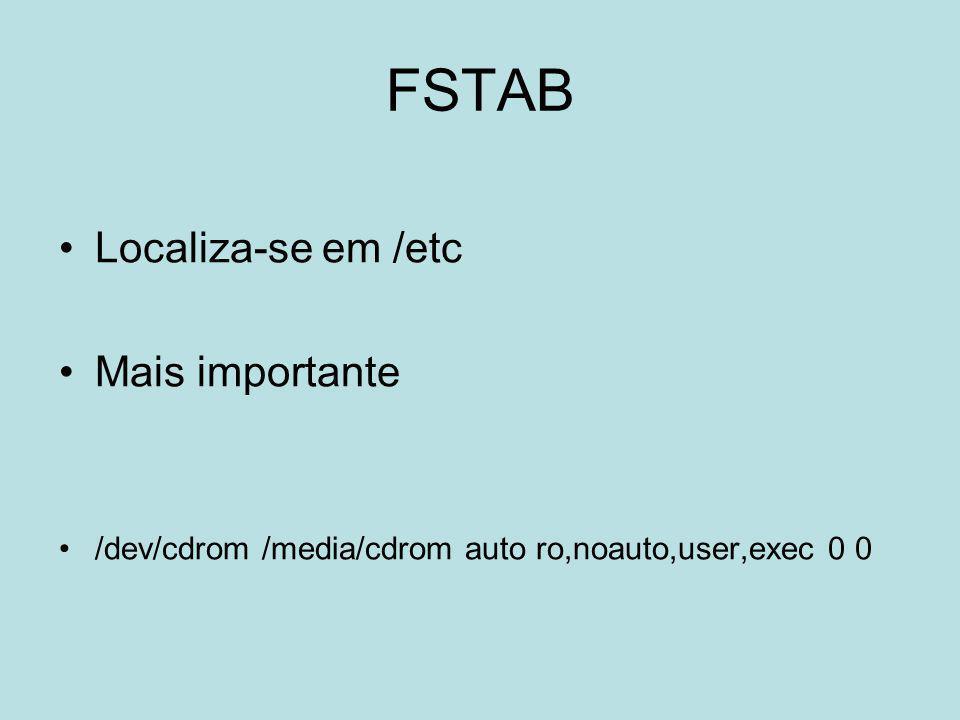 FSTAB Localiza-se em /etc Mais importante