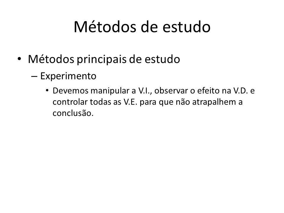 Métodos de estudo Métodos principais de estudo Experimento
