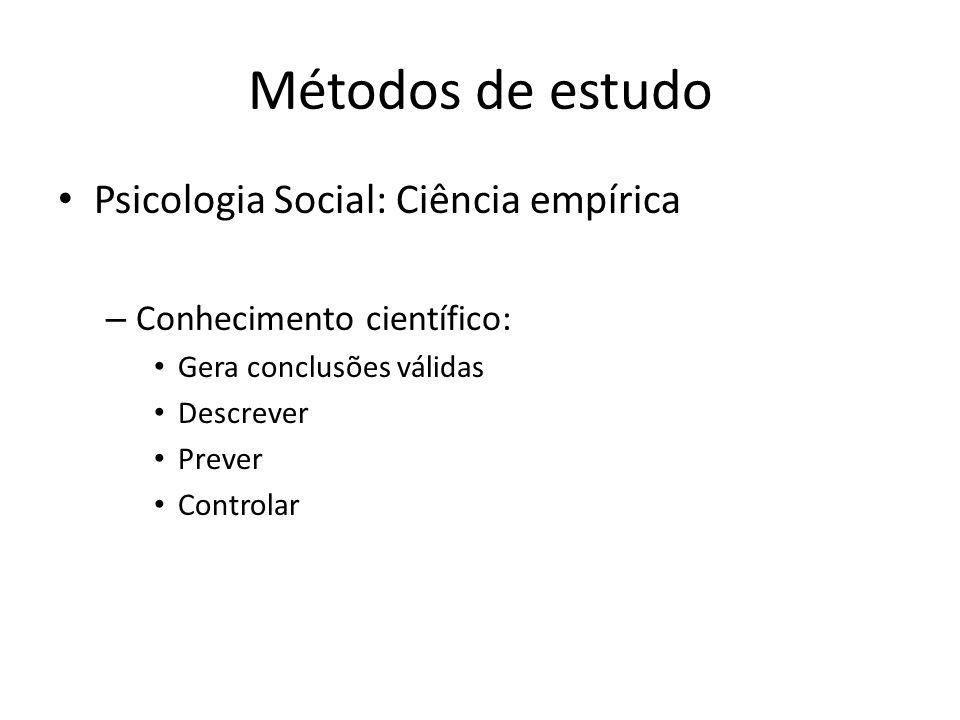 Métodos de estudo Psicologia Social: Ciência empírica