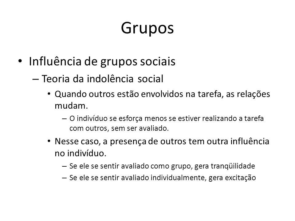 Grupos Influência de grupos sociais Teoria da indolência social