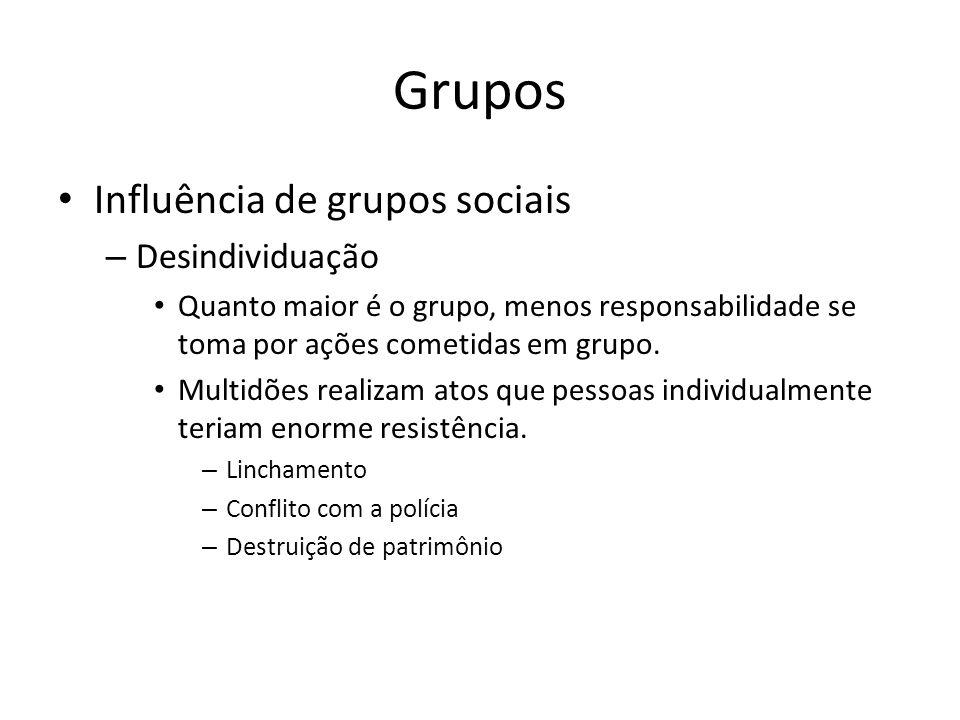 Grupos Influência de grupos sociais Desindividuação