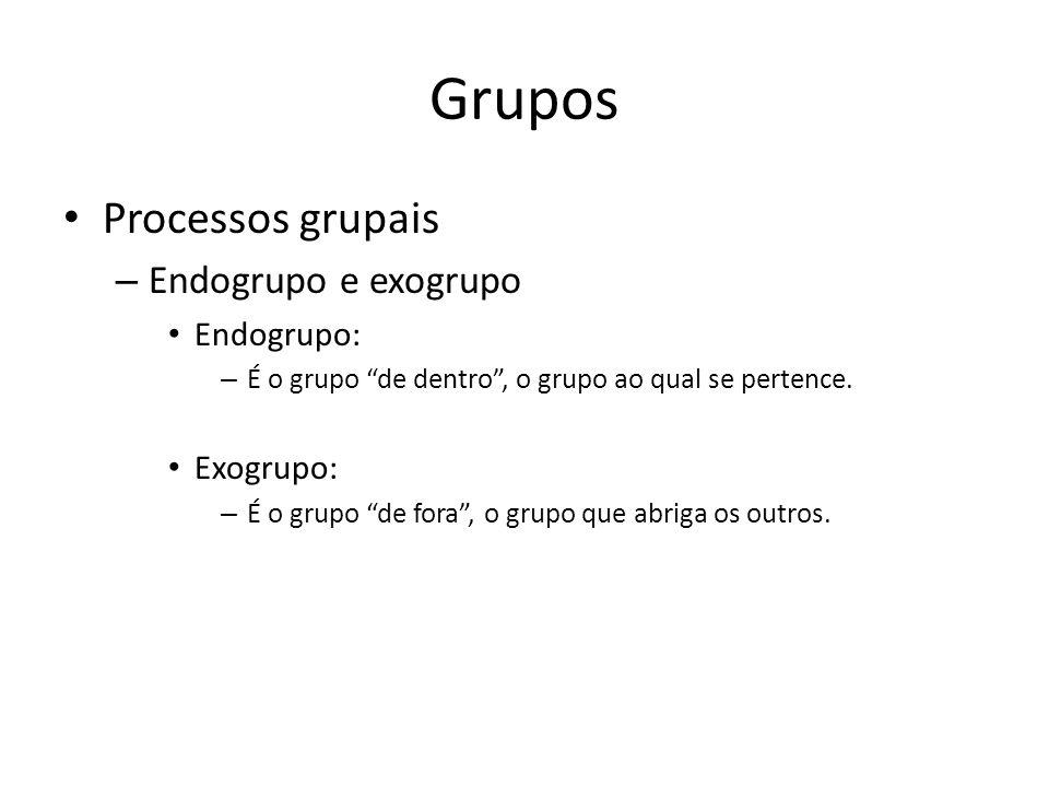 Grupos Processos grupais Endogrupo e exogrupo Endogrupo: Exogrupo:
