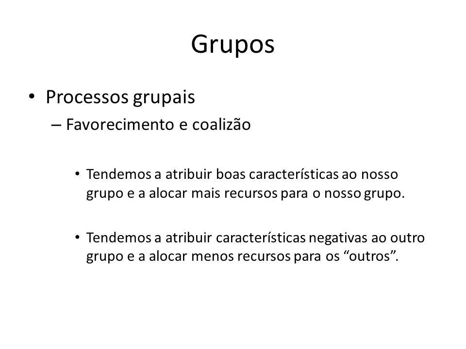 Grupos Processos grupais Favorecimento e coalizão