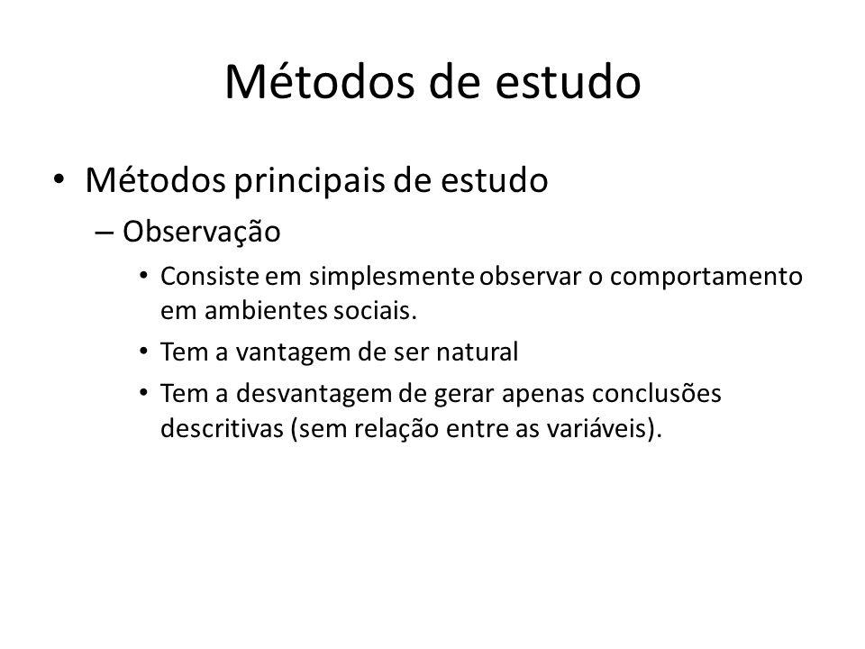 Métodos de estudo Métodos principais de estudo Observação