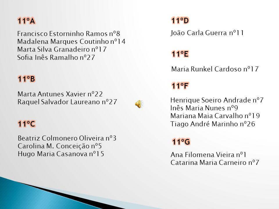 11ºA 11ºD 11ºE 11ºB 11ºF 11ºC 11ºG João Carla Guerra nº11