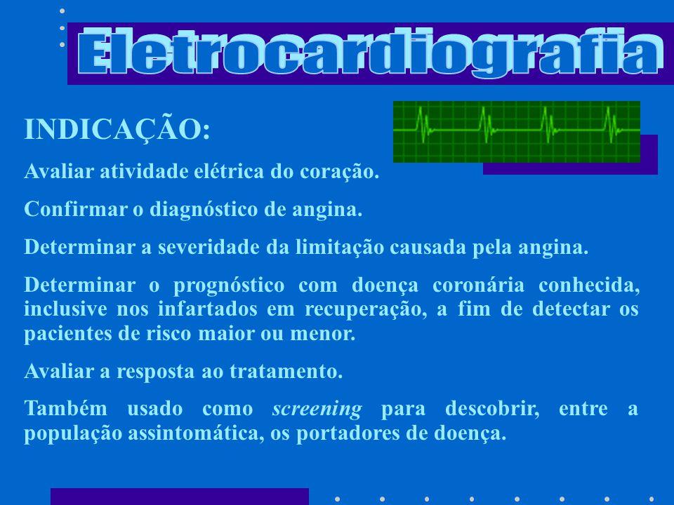 Eletrocardiografia INDICAÇÃO: Avaliar atividade elétrica do coração.