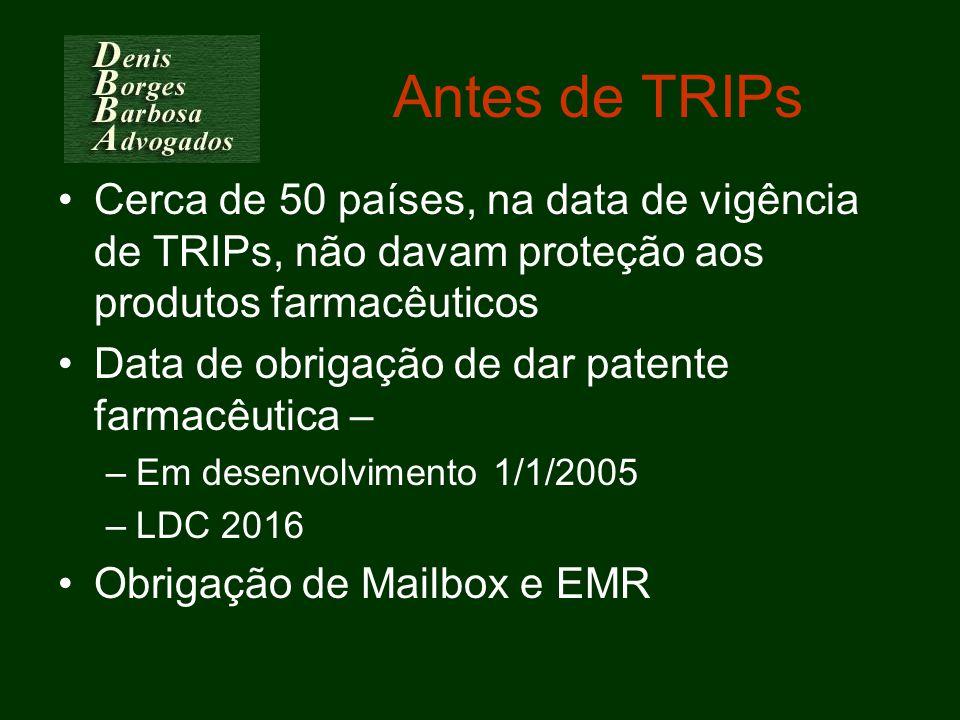 Antes de TRIPs Cerca de 50 países, na data de vigência de TRIPs, não davam proteção aos produtos farmacêuticos.