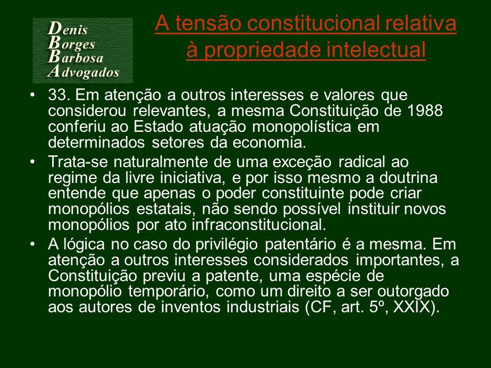 A tensão constitucional relativa à propriedade intelectual