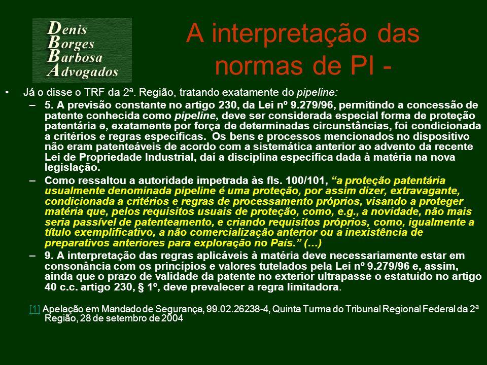 A interpretação das normas de PI -