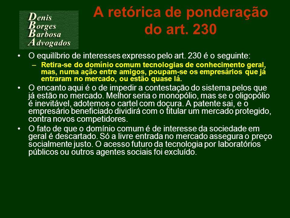 A retórica de ponderação do art. 230