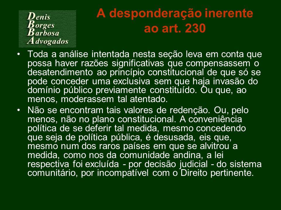 A desponderação inerente ao art. 230