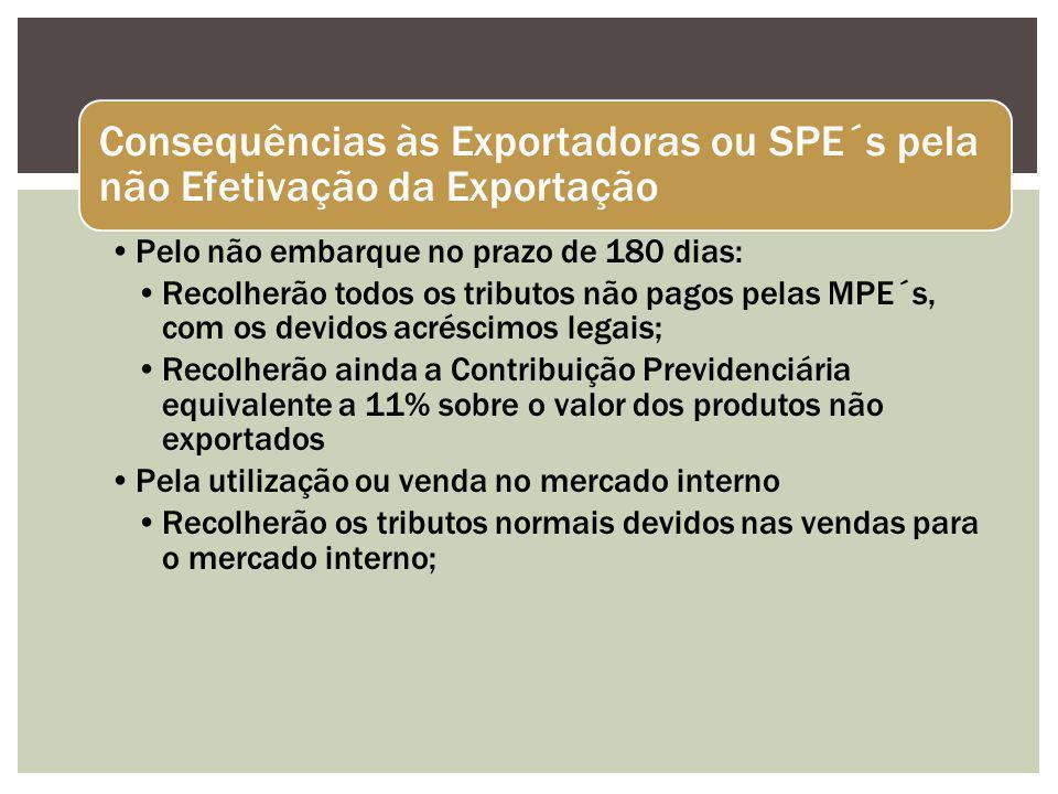 Consequências às Exportadoras ou SPE´s pela não Efetivação da Exportação