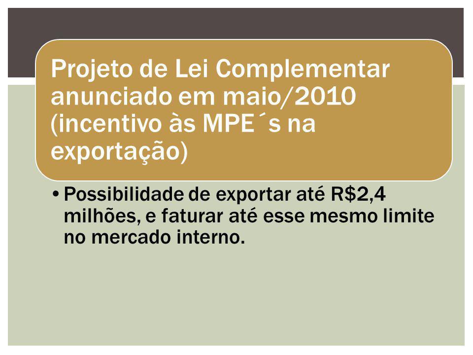 Projeto de Lei Complementar anunciado em maio/2010 (incentivo às MPE´s na exportação)