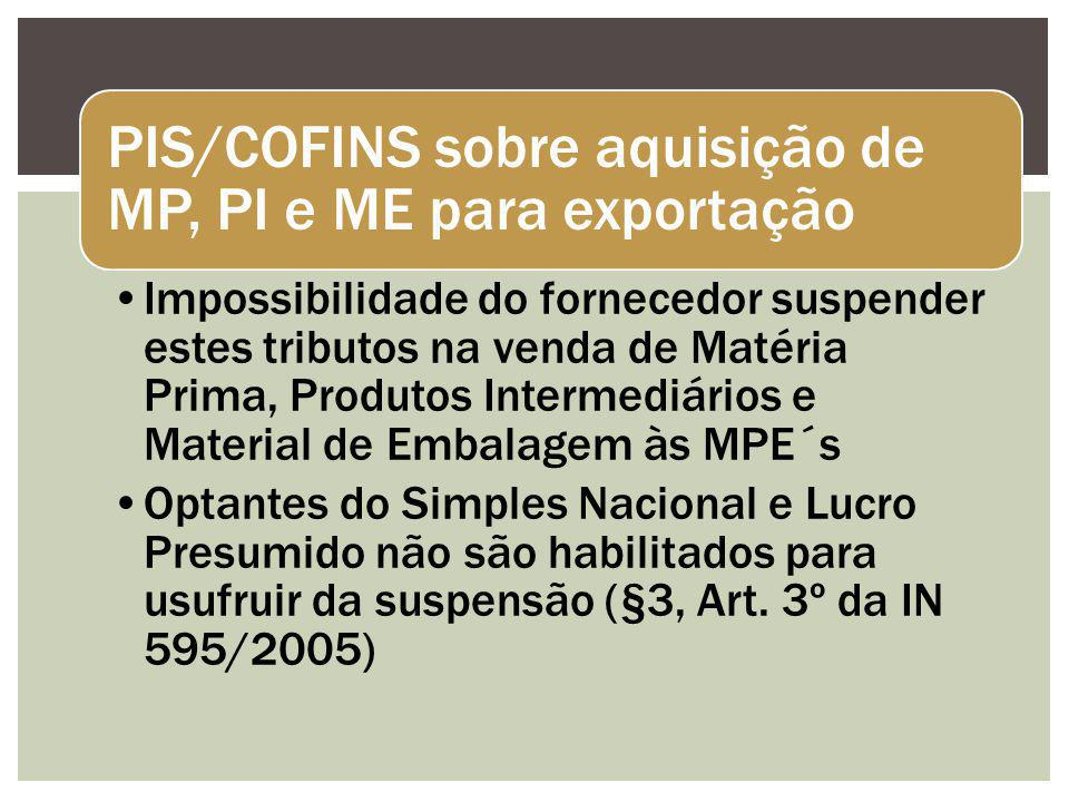PIS/COFINS sobre aquisição de MP, PI e ME para exportação