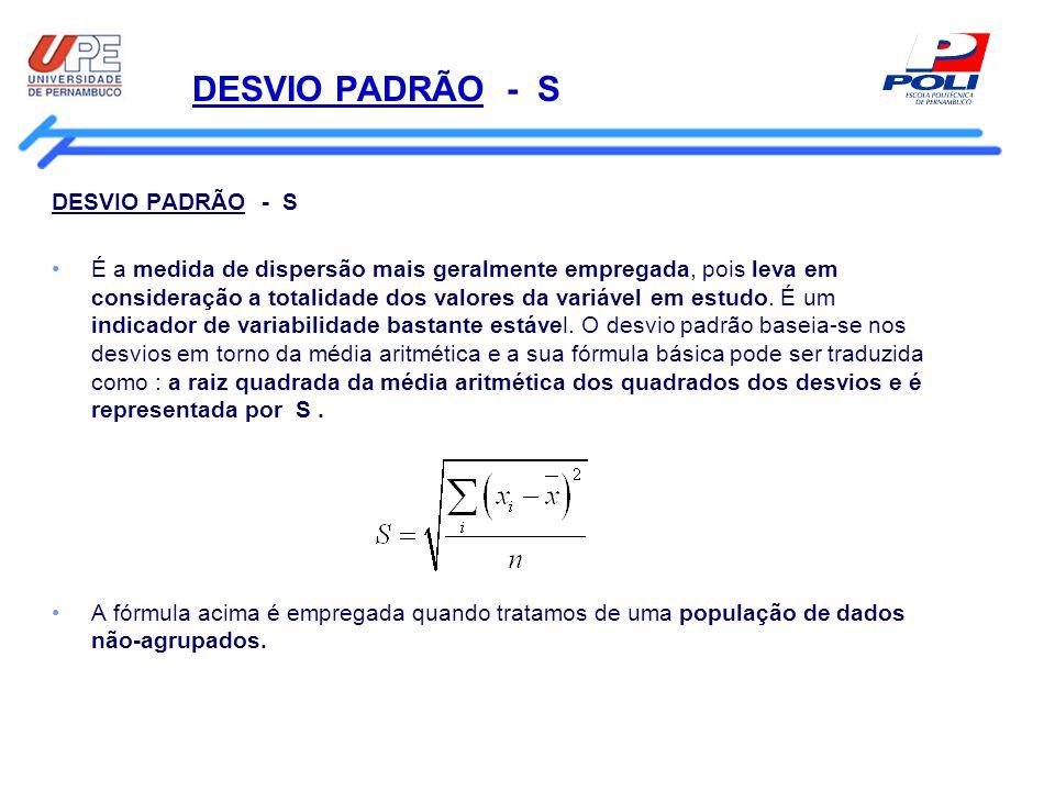 DESVIO PADRÃO - S DESVIO PADRÃO - S