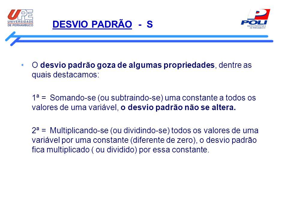 DESVIO PADRÃO - S O desvio padrão goza de algumas propriedades, dentre as quais destacamos: