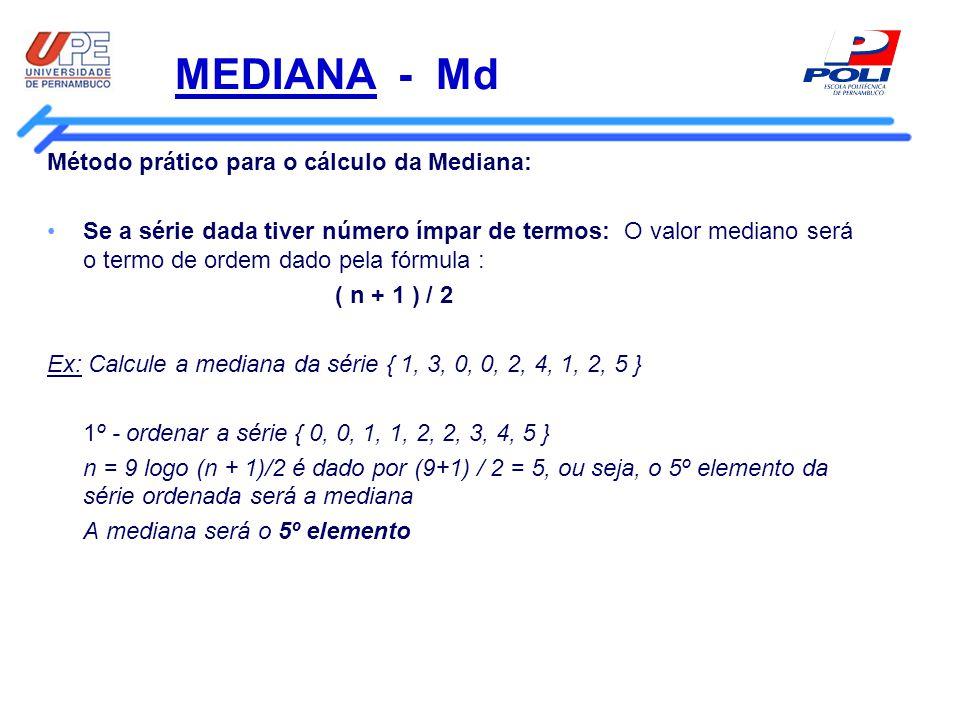 MEDIANA - Md Método prático para o cálculo da Mediana: