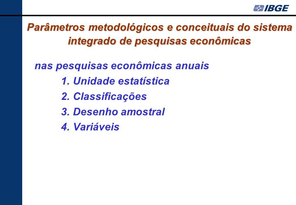 Parâmetros metodológicos e conceituais do sistema integrado de pesquisas econômicas