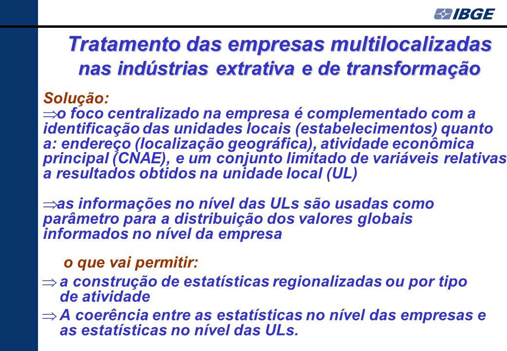 Tratamento das empresas multilocalizadas nas indústrias extrativa e de transformação