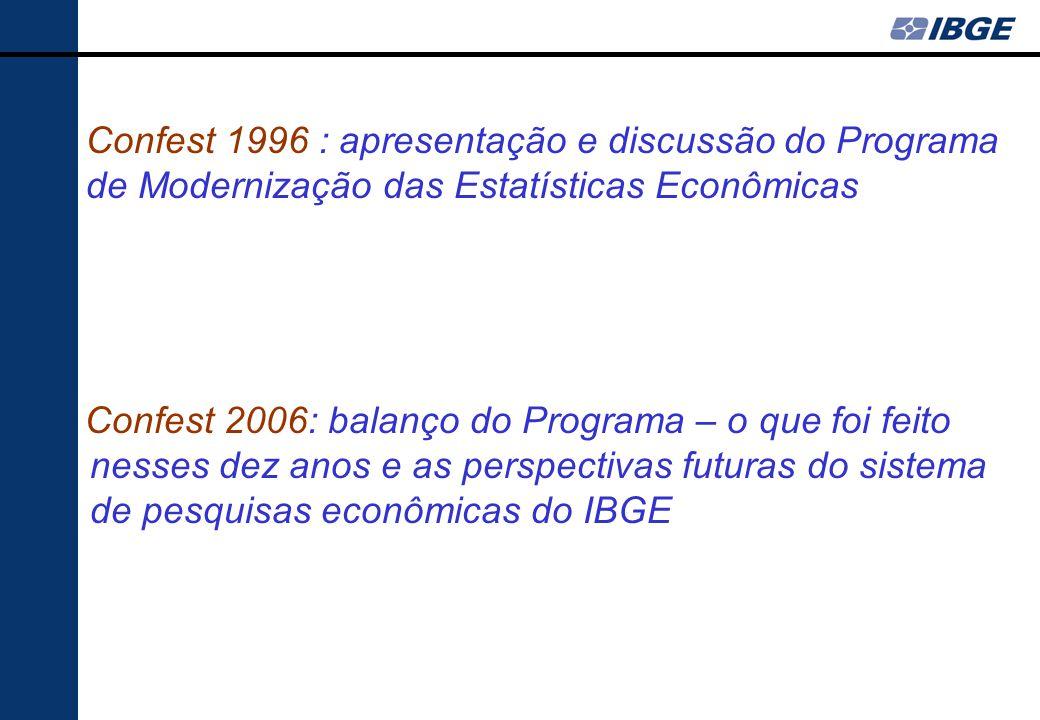 Confest 1996 : apresentação e discussão do Programa de Modernização das Estatísticas Econômicas