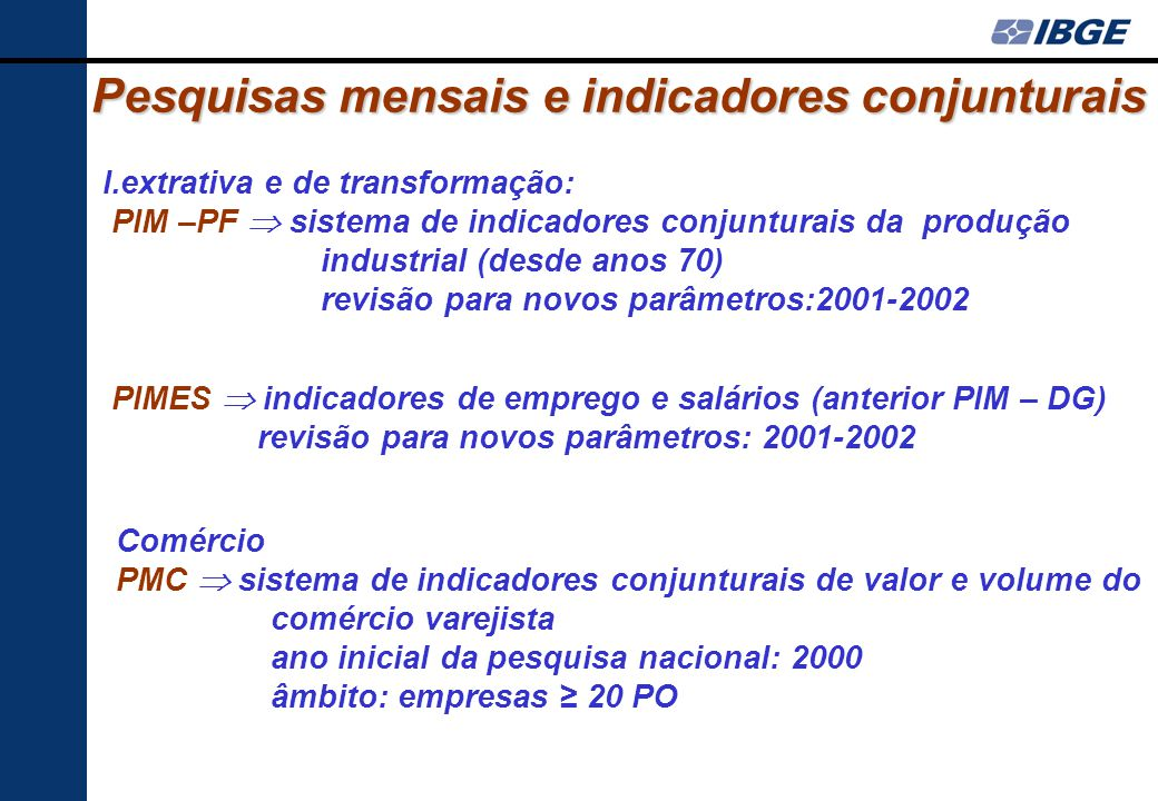 Pesquisas mensais e indicadores conjunturais