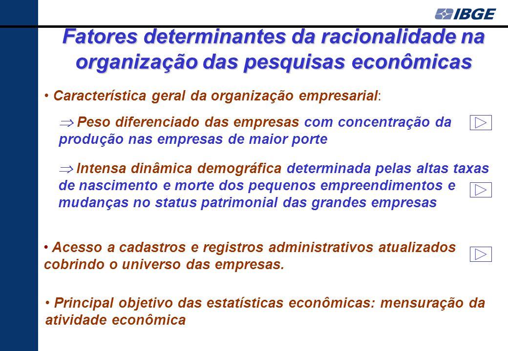 Fatores determinantes da racionalidade na organização das pesquisas econômicas