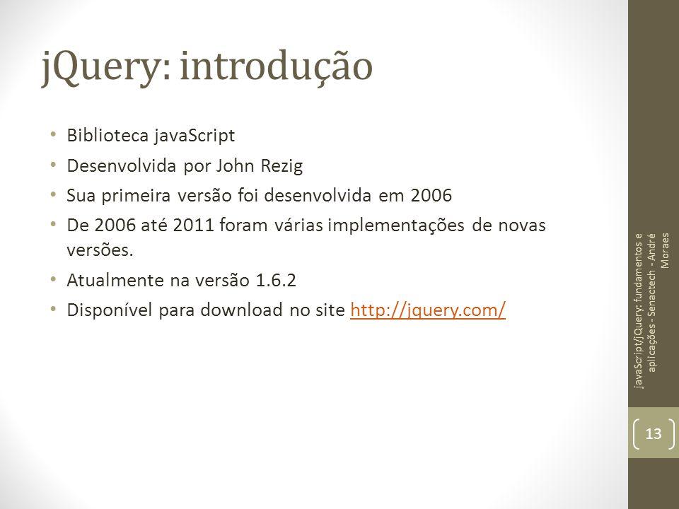 jQuery: introdução Biblioteca javaScript Desenvolvida por John Rezig