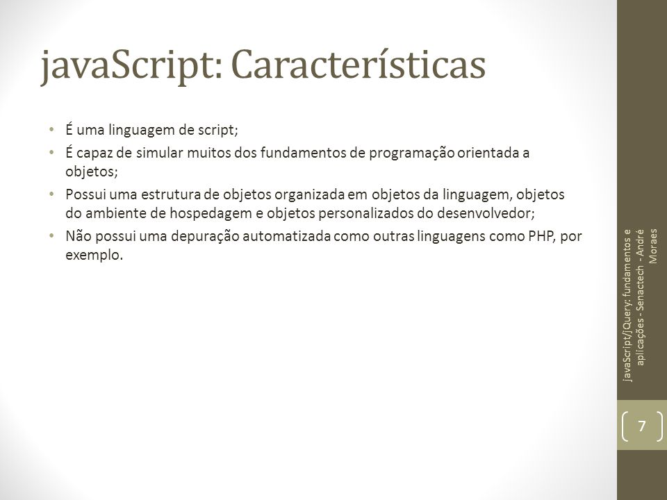 javaScript: Características