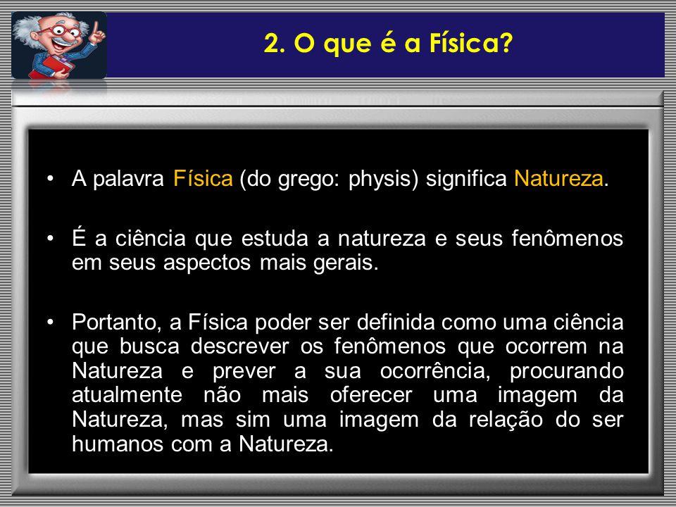 2. O que é a Física A palavra Física (do grego: physis) significa Natureza.