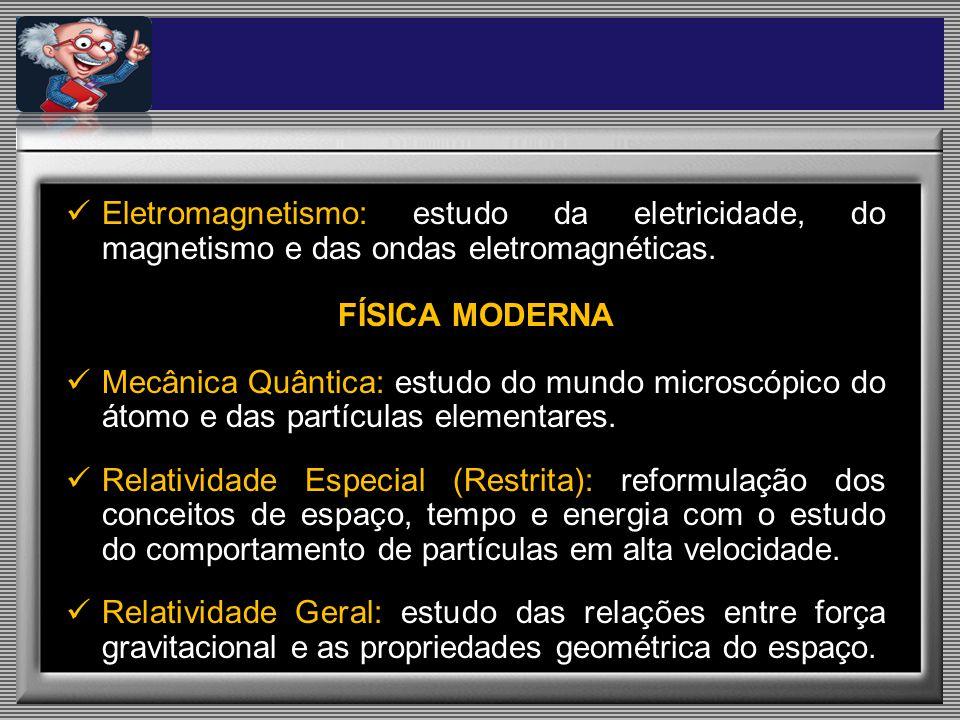 Eletromagnetismo: estudo da eletricidade, do magnetismo e das ondas eletromagnéticas.