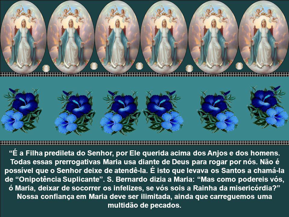 É a Filha predileta do Senhor, por Ele querida acima dos Anjos e dos homens.