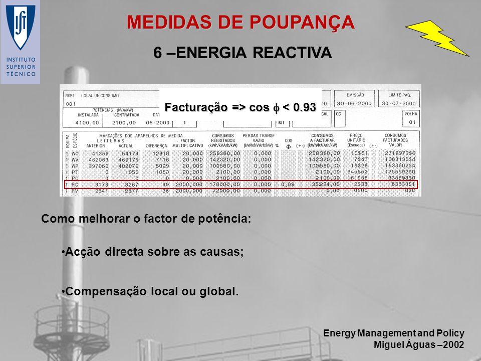 MEDIDAS DE POUPANÇA 6 –ENERGIA REACTIVA