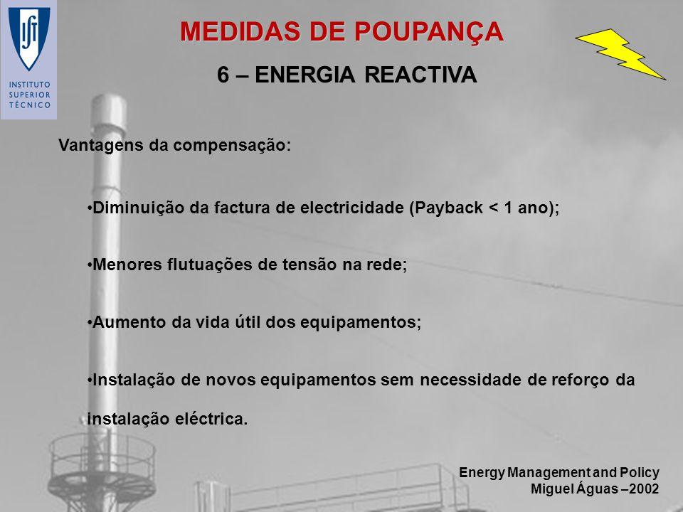 MEDIDAS DE POUPANÇA 6 – ENERGIA REACTIVA Vantagens da compensação: