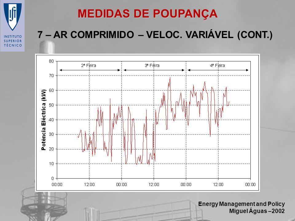 MEDIDAS DE POUPANÇA 7 – AR COMPRIMIDO – VELOC. VARIÁVEL (CONT.)