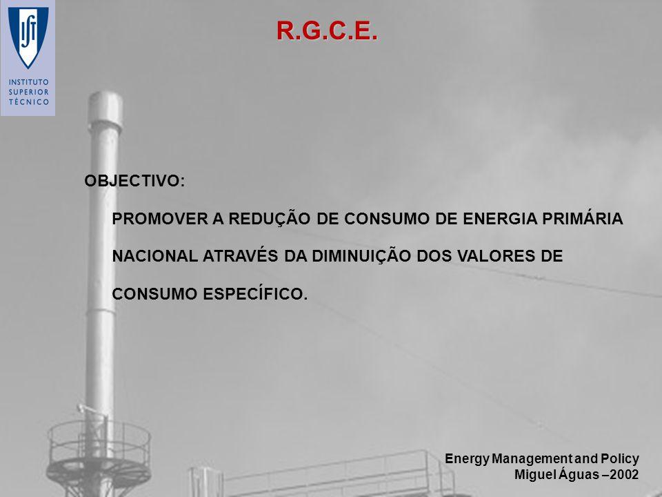 R.G.C.E. OBJECTIVO: PROMOVER A REDUÇÃO DE CONSUMO DE ENERGIA PRIMÁRIA