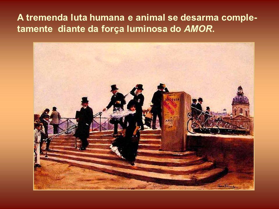 A tremenda luta humana e animal se desarma comple-