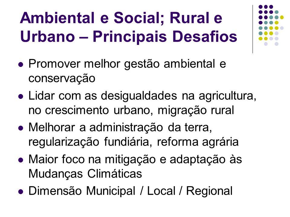 Ambiental e Social; Rural e Urbano – Principais Desafios