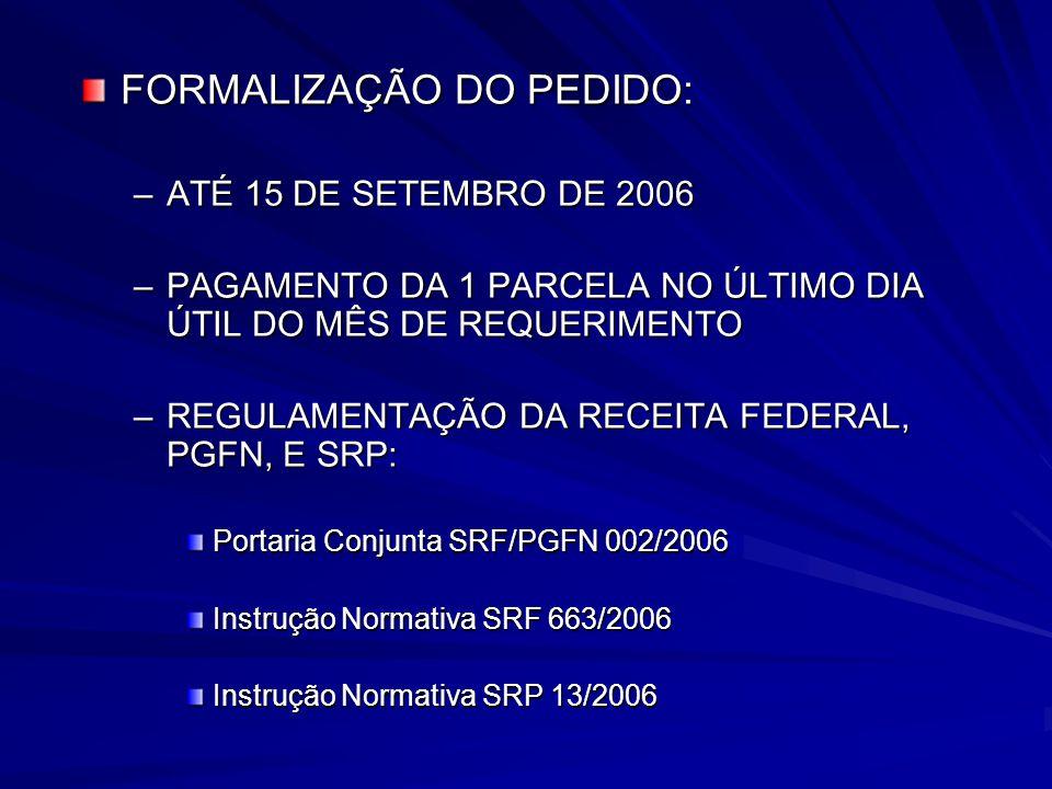 FORMALIZAÇÃO DO PEDIDO: