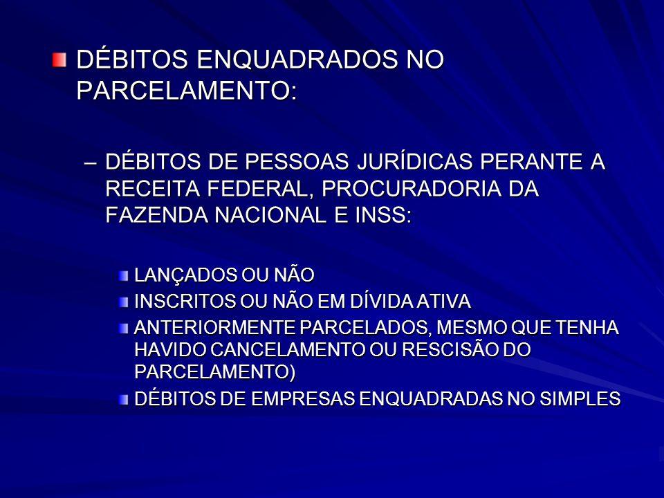 DÉBITOS ENQUADRADOS NO PARCELAMENTO:
