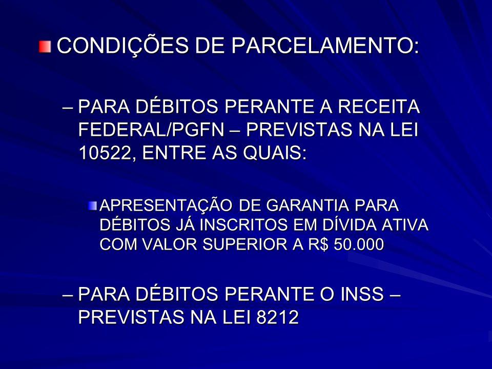 CONDIÇÕES DE PARCELAMENTO: