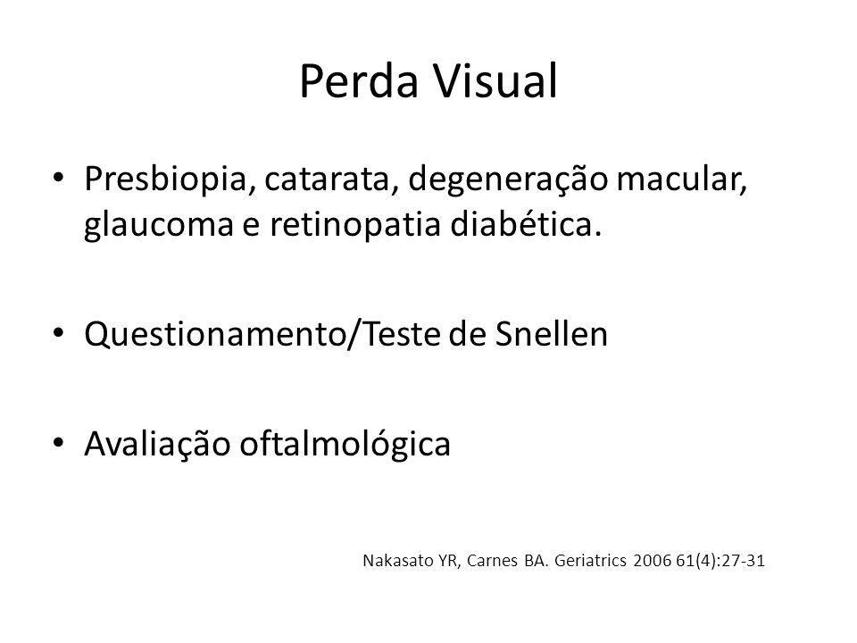 Perda Visual Presbiopia, catarata, degeneração macular, glaucoma e retinopatia diabética. Questionamento/Teste de Snellen.