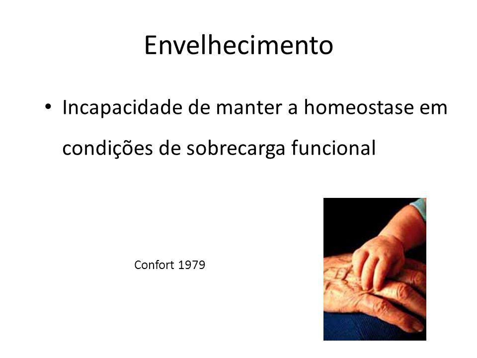 Envelhecimento Incapacidade de manter a homeostase em condições de sobrecarga funcional.