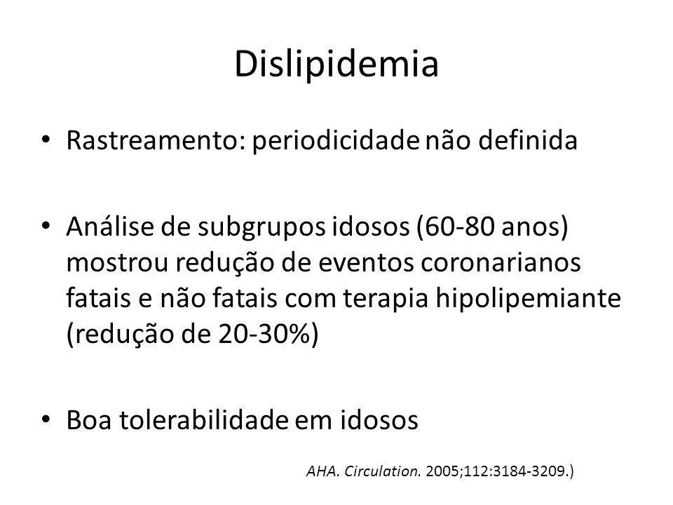 Dislipidemia Rastreamento: periodicidade não definida