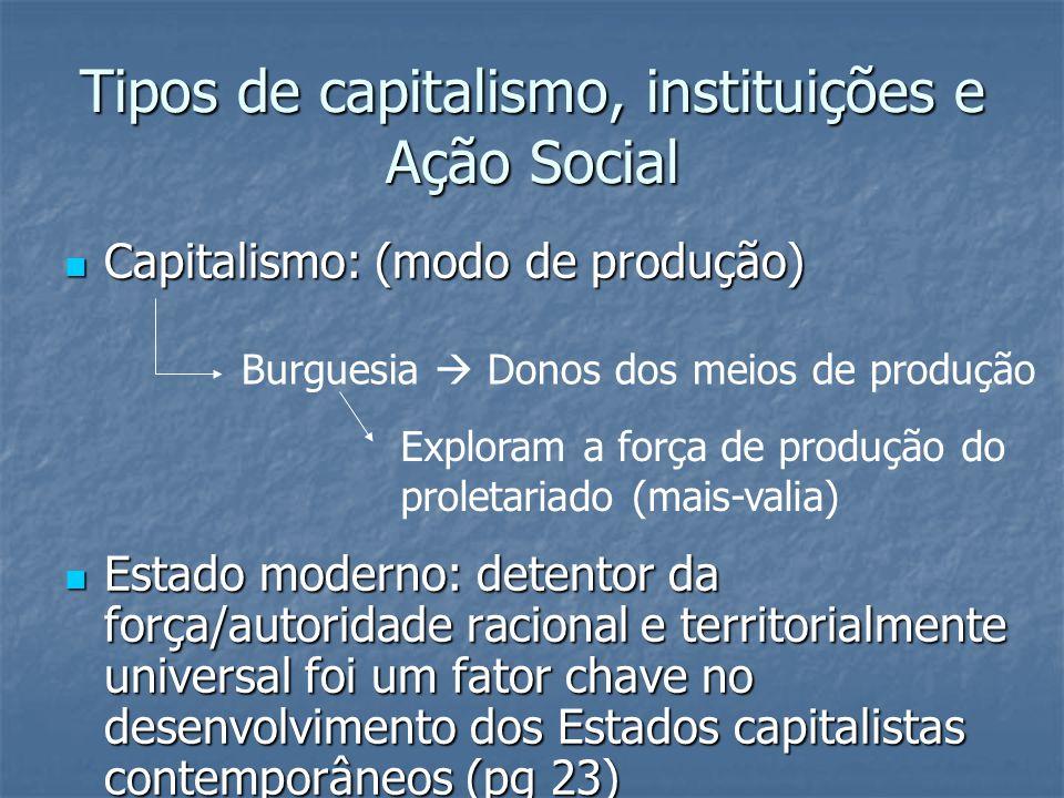 Tipos de capitalismo, instituições e Ação Social